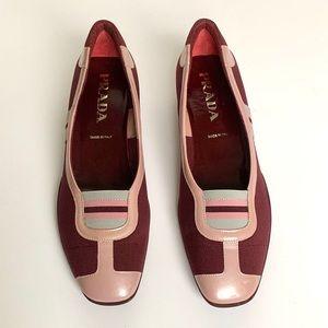 PRADA Burgundy & Pink Sports Loafer w/ Racerstripe